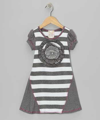 Charcoal & White Stripe Blossom Dress - Girls