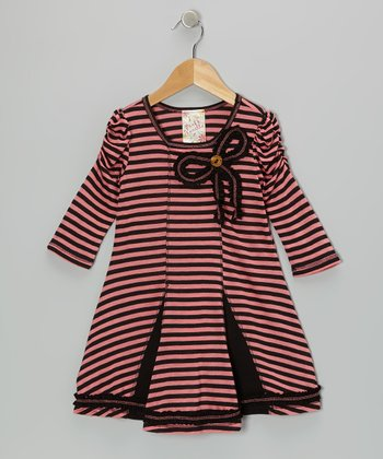 Coral & Black Stripe Princess Dress - Girls