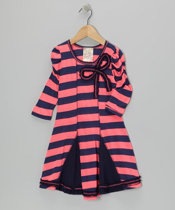 Neon Pink & Navy Stripe Princess Dress - Girls