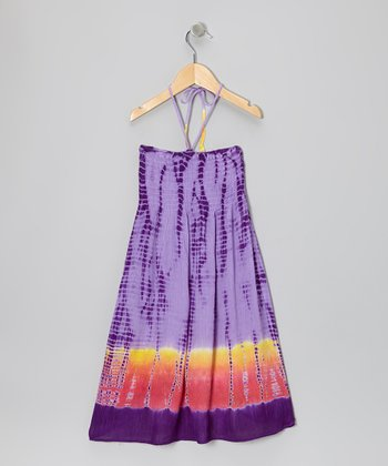Purple Tie-Dye Shirred Halter Dress - Toddler & Girls