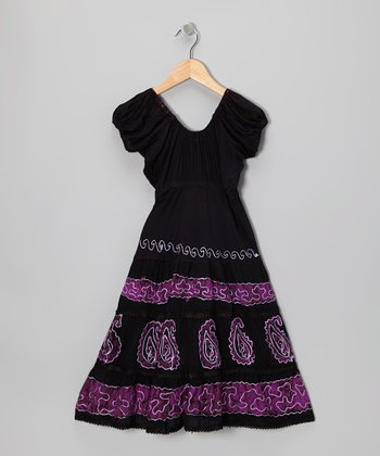 Black & Purple Paisley Dress - Toddler & Girls