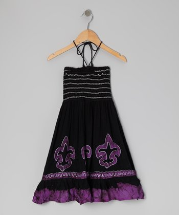 Purple Fleur-de-Lis Halter Dress - Toddler & Girls