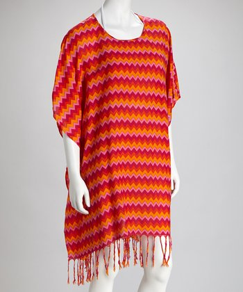 Coral Zigzag Cover-Up