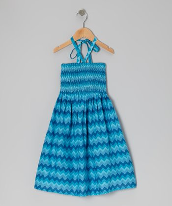 Blue Zigzag Shirred Halter Dress - Toddler & Girls