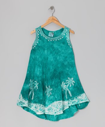 Green Beach Tree Knit-Trim Dress - Toddler & Girls