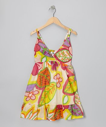 Yellow Flower Surplice Dress - Girls