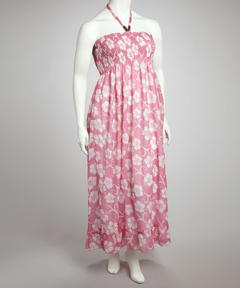 Pink Floral Halter Maxi Dress - Plus