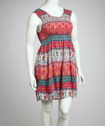 Pink & Blue Floral Paisley Sleeveless Dress - Plus