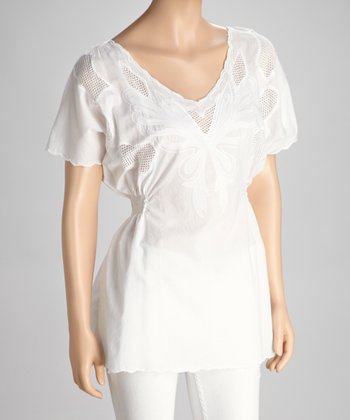 White Eyelet Short-Sleeve Top
