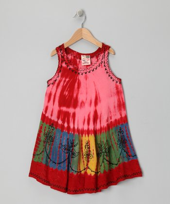 Red Dip-Dye Swing Dress - Toddler & Girls