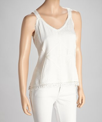 White Lace-Trim Camisole