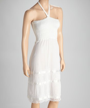White Lace-Trim Halter Dress