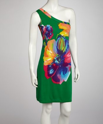 Green Flower Asymmetrical Dress - Women