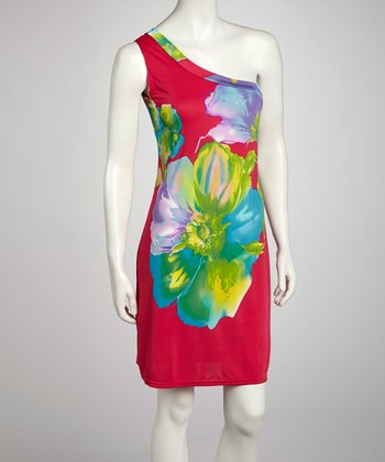 Rose Flower Asymmetrical Dress - Women