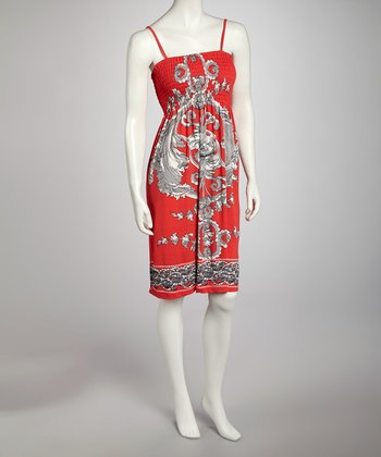Red Shirred Dress - Women