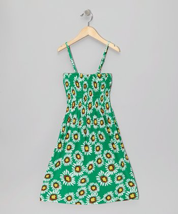 Green Sunflower Shirred Dress - Toddler & Girls