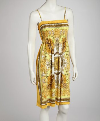 Yellow Style Shirred Dress - Women