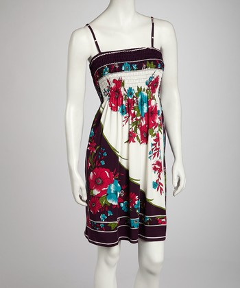 Purple Floral Dress - Women