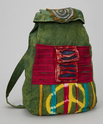 Green Vibrant Peace Sign Backpack