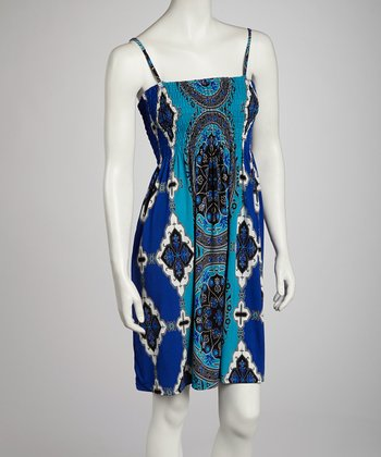 Blue Classic Shirred Dress