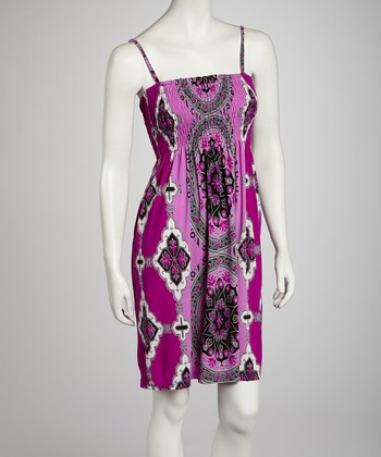 Purple Classic Shirred Dress - Women