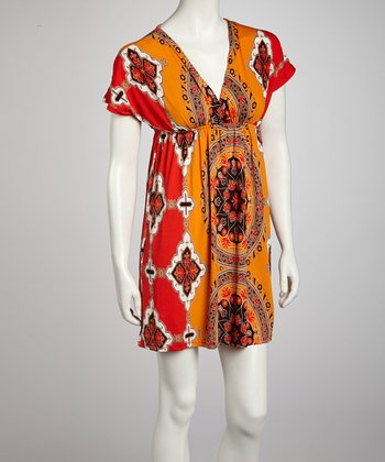 Orange Victorian Empire-Waist Dress - Women