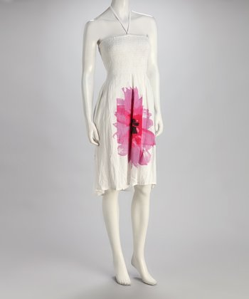 Pink Flower Halter Dress - Women