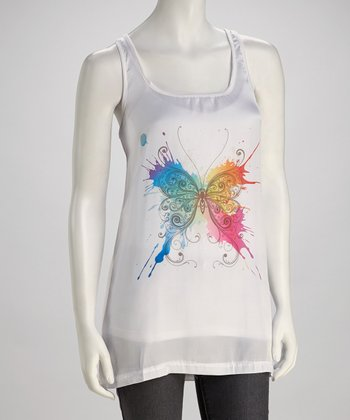 White Butterfly Tank - Women