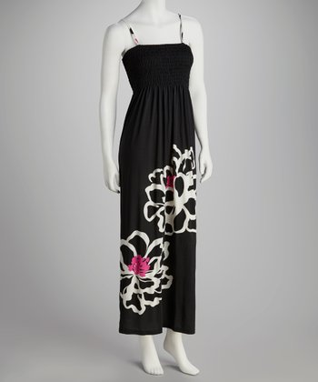 Black Bold Bloom Shirred Maxi Dress