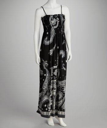 Black Paisley Shirred Maxi Dress