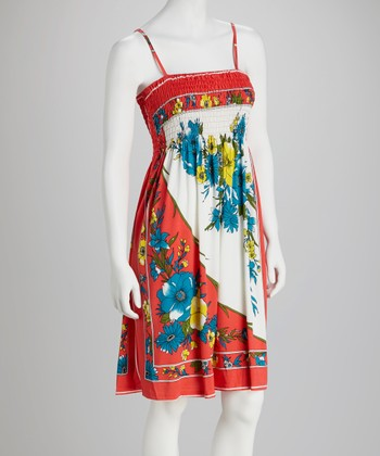 Coral Floral Shirred Dress - Women