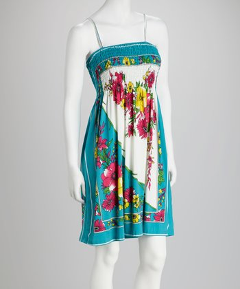 Turquoise Floral Shirred Dress - Women