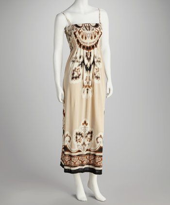 Beige Abstract Tribal Smocked Maxi Dress - Women