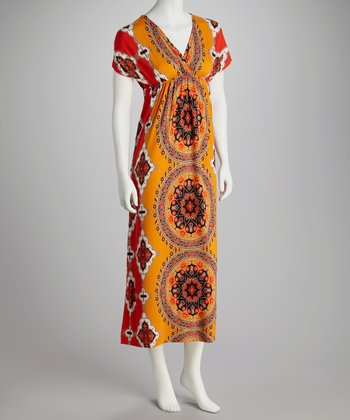 Orange Abstract Medallion Surplice Dress - Women