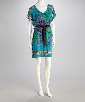Turquoise Cape-Sleeve Tunic Dress