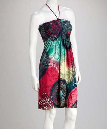 Fuchsia & Green Paisley Shirred Halter Dress - Women