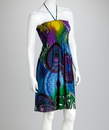 Purple & Blue Paisley Shirred Halter Dress - Women