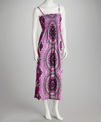 Purple Abstract Medallion Smocked Maxi Dress