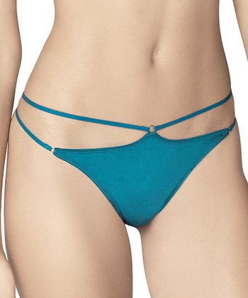 Teal Double Strap Thong - Women