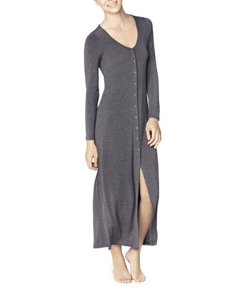 Charcoal Snap-Front Nightgown - Women