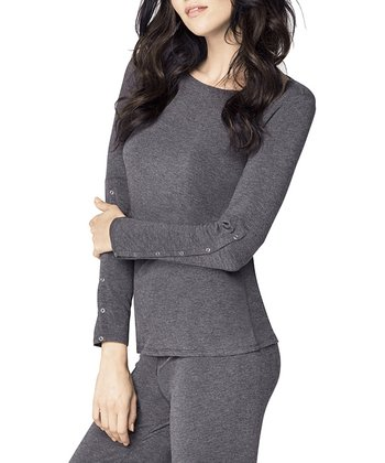 Charcoal Snap-Sleeve Lounge Top - Women