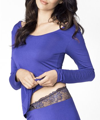 Blue Lace-Back Long-Sleeve Top - Women