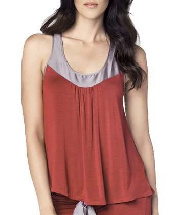 Ruby & Charcoal Racerback Tank - Women