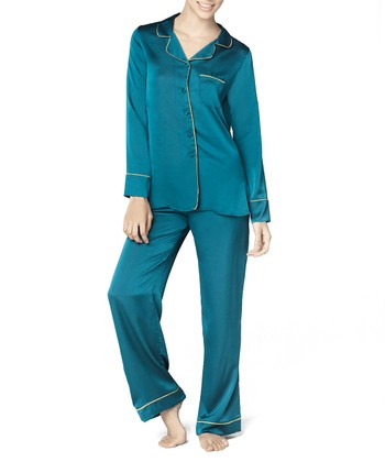 Teal Satin Pajama Set - Women