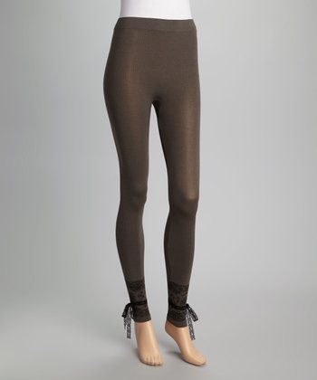 Marrone Ribbed Lace Tie Footless Tights