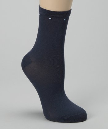 Blue Denim Crystal Detail Socks