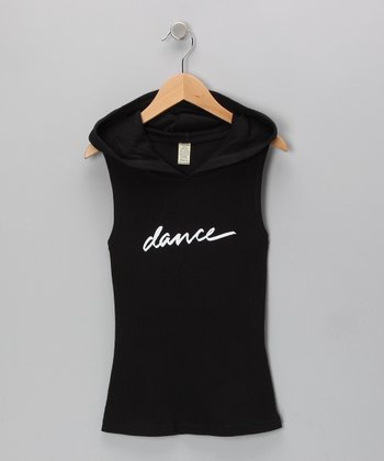 Black 'Dance' Sleeveless Hoodie - Girls