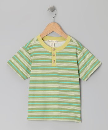 Linden Green & Olive Stripe Henley - Toddler & Kids