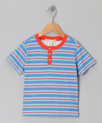 Spicy Orange & Sky Blue Stripe Henley - Toddler & Kids