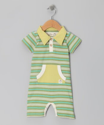 Linden Green & Olive Multi Stripe Polo Romper - Infant